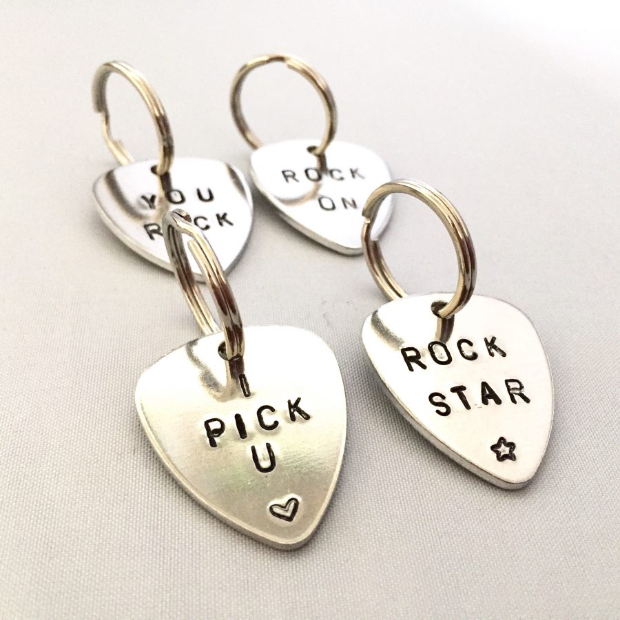 Hand-stamped guitar pick key ring, custom wording