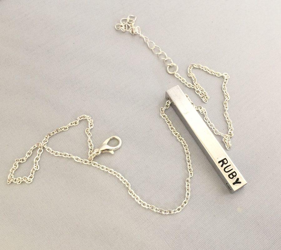 Personalised aluminium bar necklace