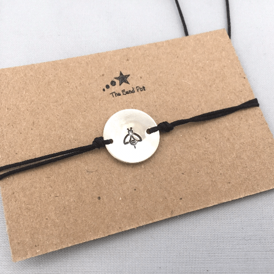 Stamped intial bracelet, bee
