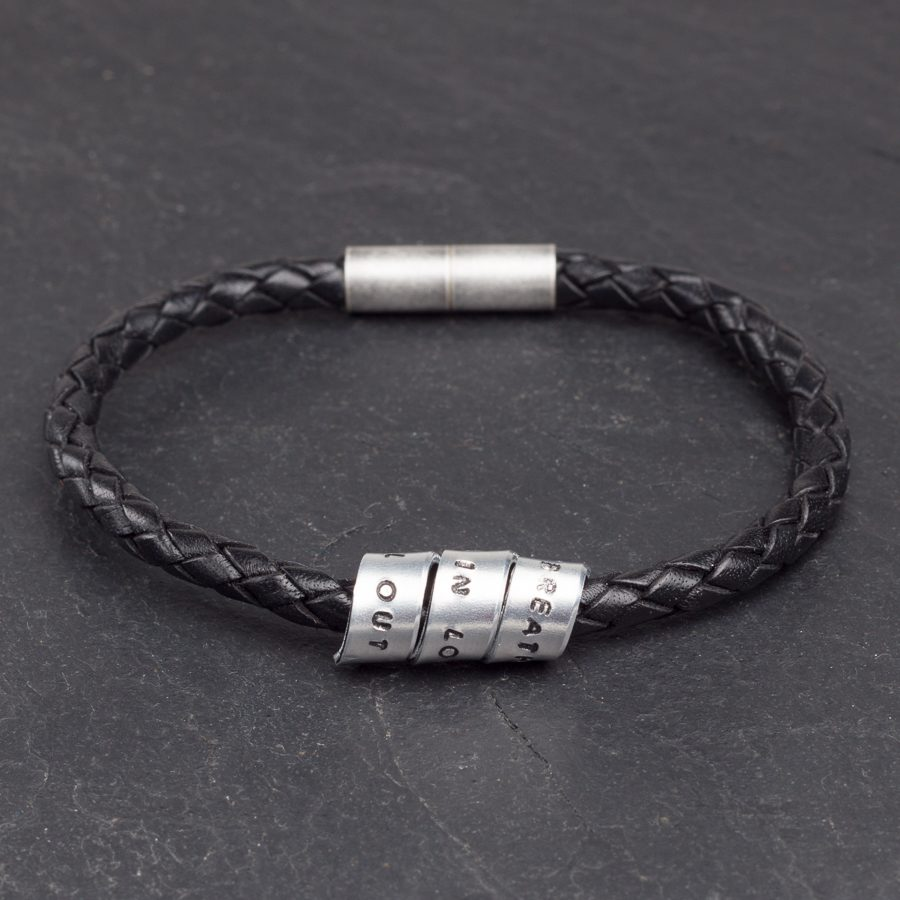 Personalised Leather bracelet - Aluminium