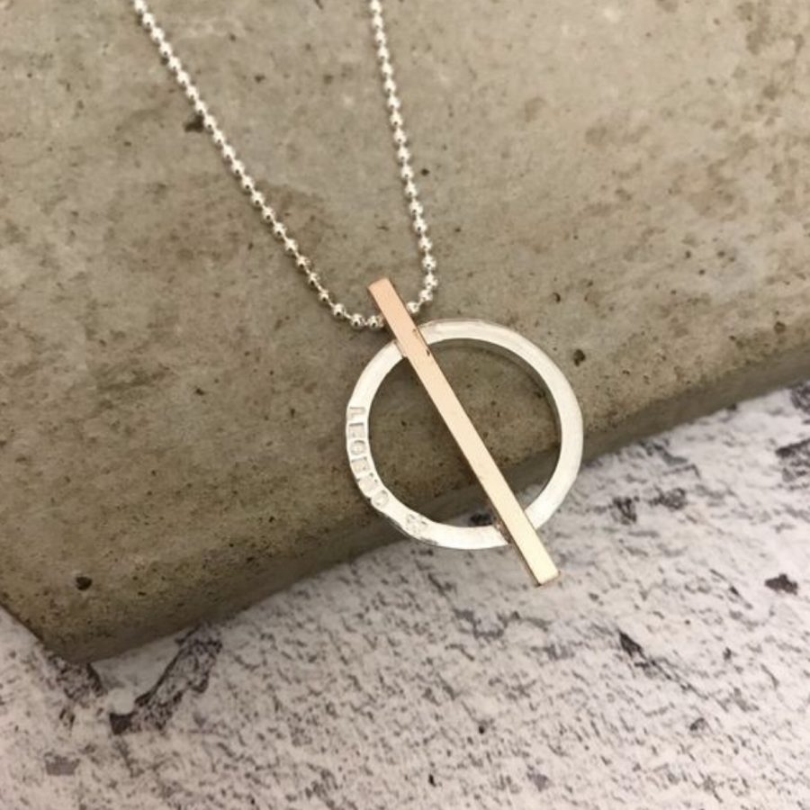 Sterling silver hoop & bar necklace