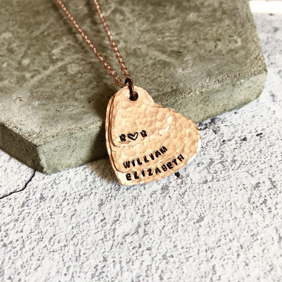 Copper stacking heart necklace
