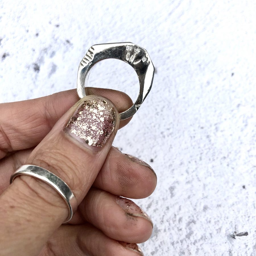 Silver textured ring