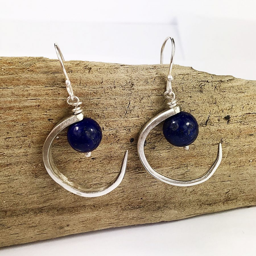 Fork Prong Moon Earrings with Lapis
