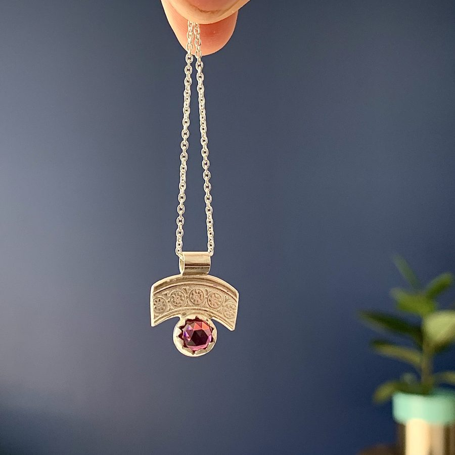 Vintage spoon top & Rhodolite Garnet Necklace