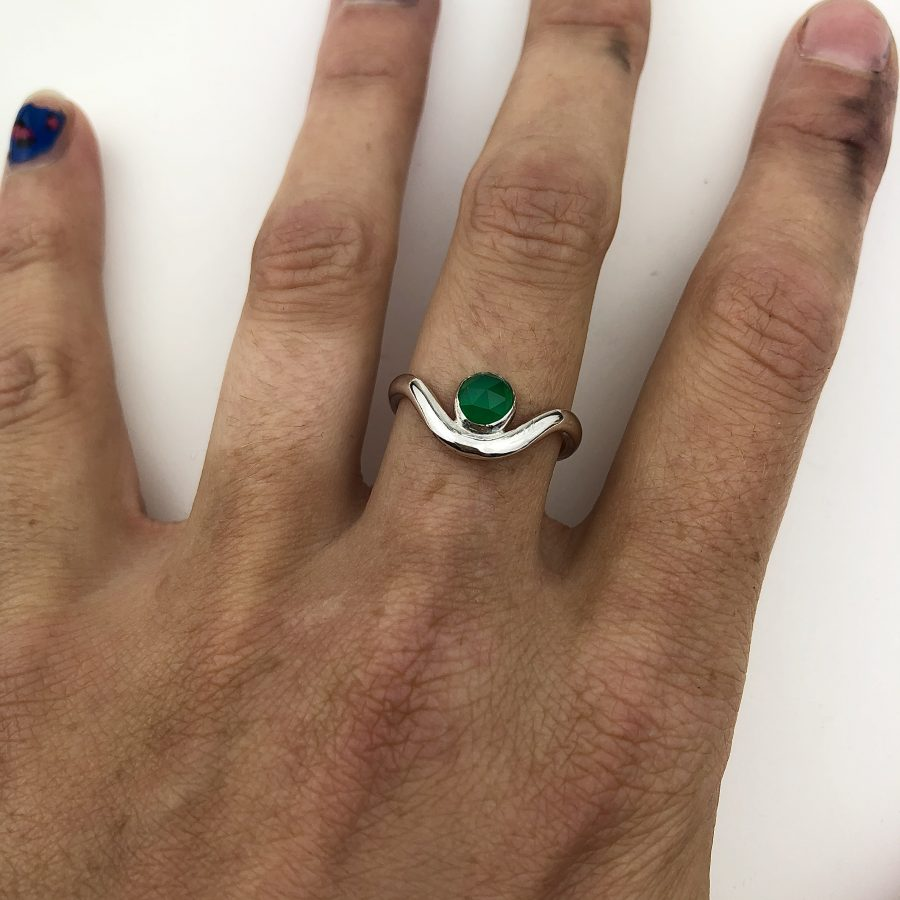 Green onyx wave ring