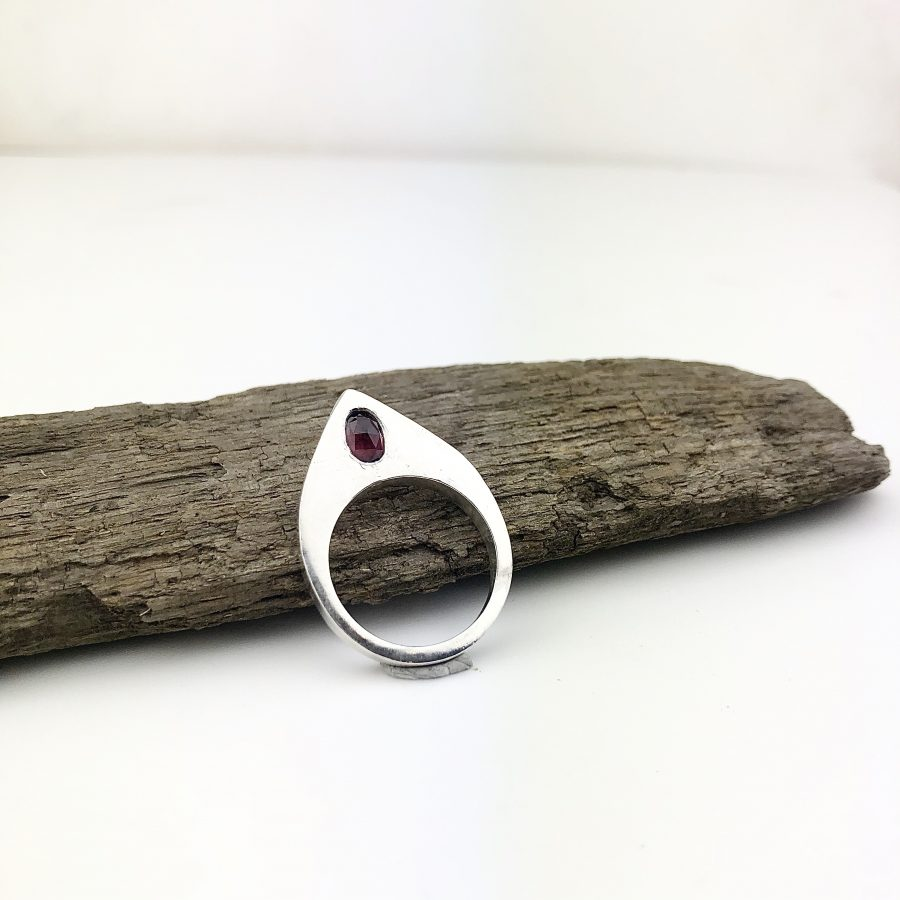 teardrop & garnet ring